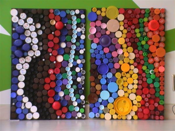 Por fim  organize as tampinhas sobre a mesa em quest  227 o  Coloque uma