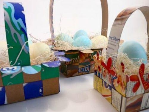 A cesta de Páscoa feita com material reciclável pode ser tão linda quanto uma cesta comprada já enfeitada (Foto: Divulgação)