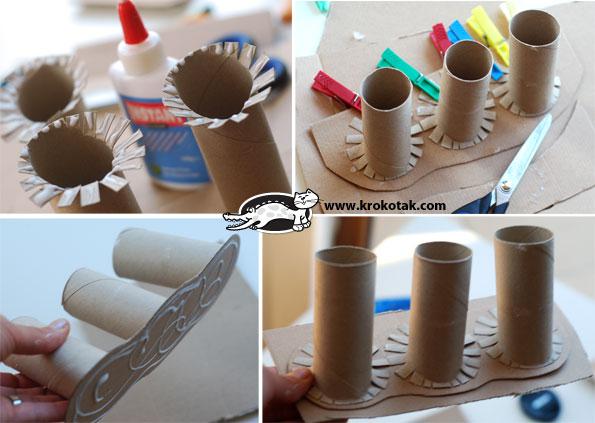 portacanetas diferente com rolos de papel