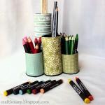 Porta lápis com rolo de papel toalhas