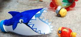Tubarão de garrafa plástica passo a passo