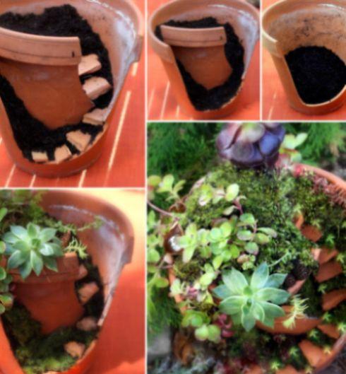 com material reciclado Como Fazer um Jardim de Fadas Passo a Passo