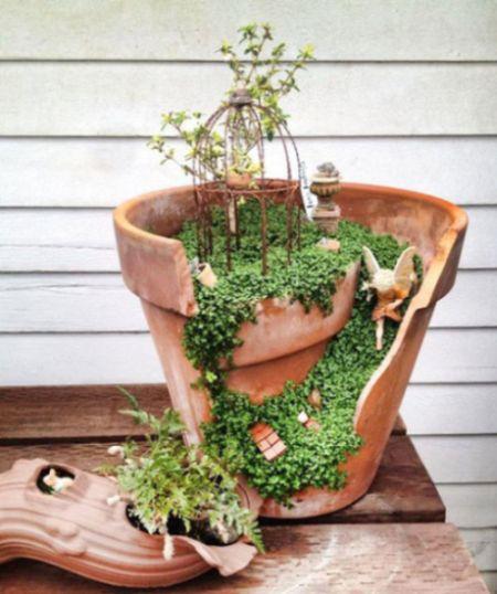mini jardim reciclado:Este jardim de fadas é lindo, é simpático e muito fácil de ser