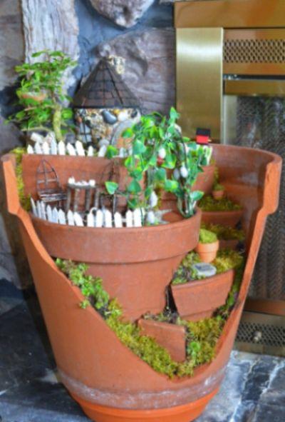 de artesanato com material reciclado Como Fazer um Jardim de Fadas