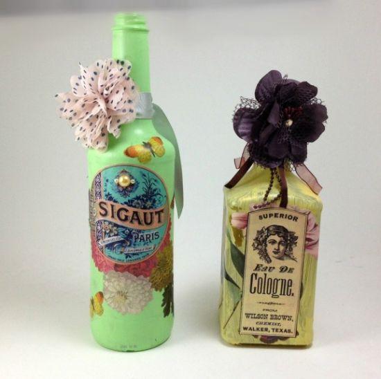 Decorar garrafas de vidro com decoupage é bem interessante (Foto: dollarstorecrafts.com)