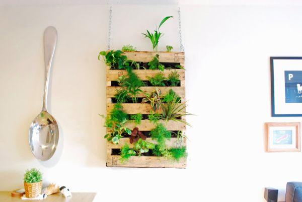 flores baratas jardim: com material reciclado Ideia Barata para Fazer um Jardim Vertical