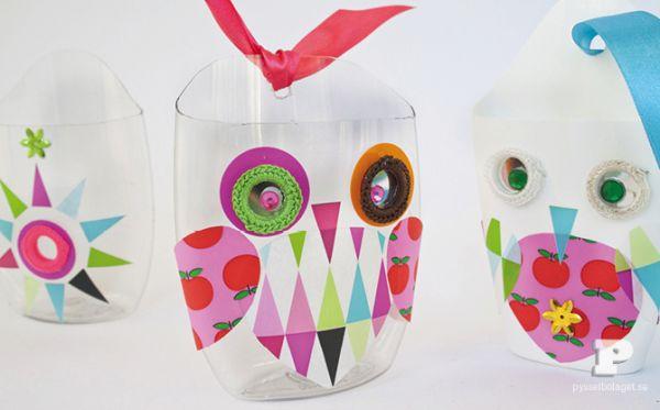 Artesanato para reaproveitar vidro de shampoo é ótima opção de brinquedo para as crianças (Foto: pysselbolaget.se)