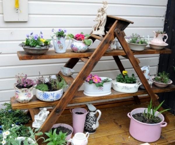 de artesanato com material reciclado Decoração de jardim com