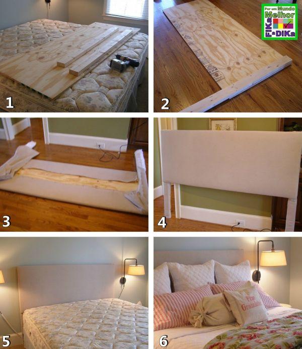 cabeceira de cama de madeira e tecido