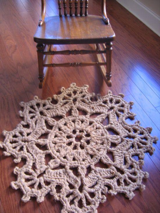 tapete em croche em barbante floral