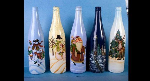 decoração de garrafa com decoupage