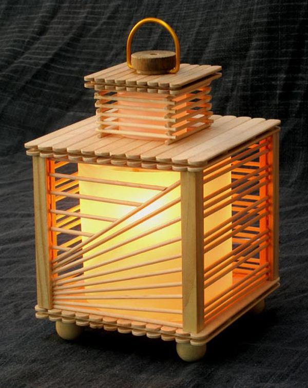 artesanato com palito de picolé luminaria
