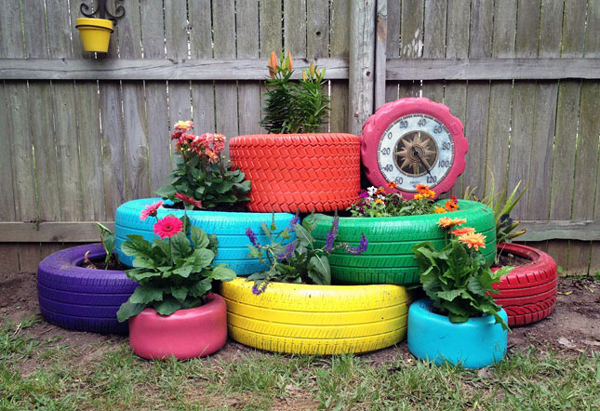 reciclagem de pneu no quintal