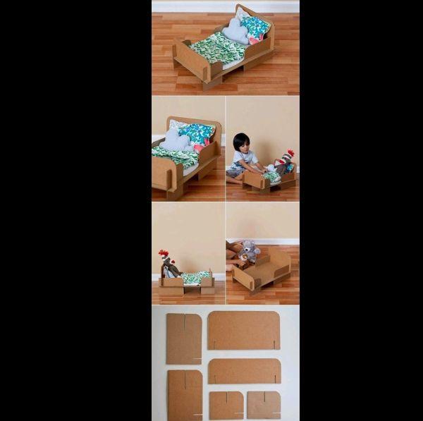 brinquedo reciclado cama de boneca