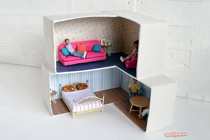 artesanato com papelão cama