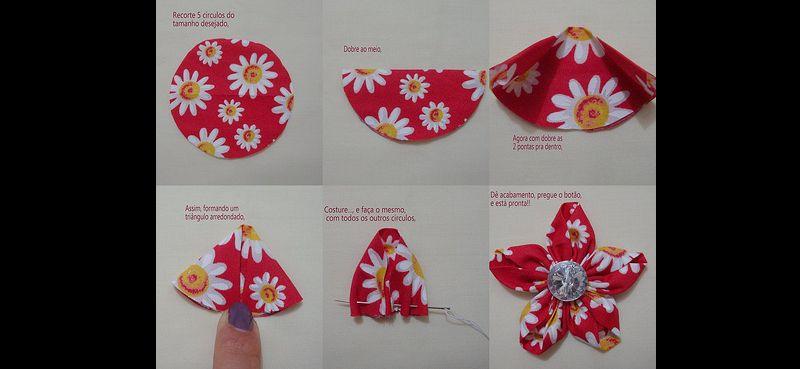 xuxinha de flor de fuxico