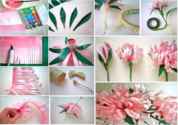 flor de papel em tiras