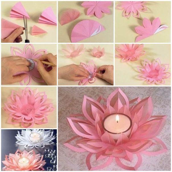 flor de papel na vela