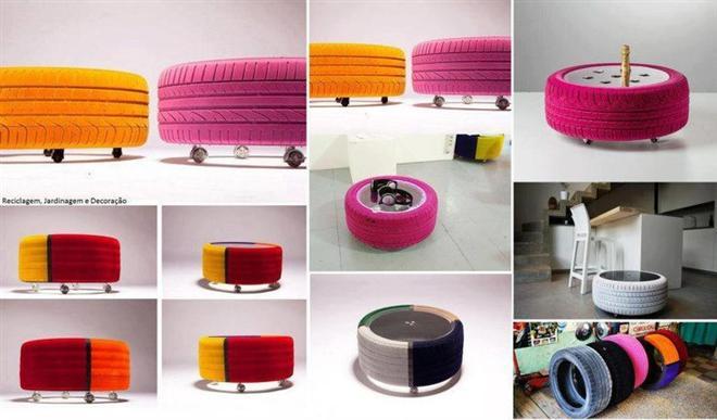 reutilizar pneus velhos na decoração