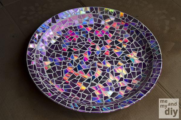 Reciclagem no Meio Ambiente Passo a passo mosaico com CDs