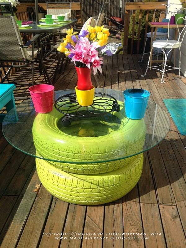 Reciclagem no meio ambiente mesa de centro de pneus velhos - Mesa de centro con puff ...