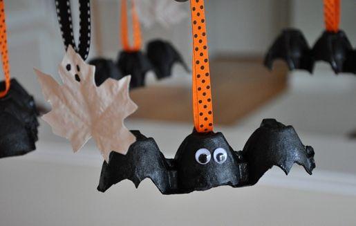 Reciclagem no Meio Ambiente Morcego Feito de Caixa De Ovos Passo a Passo -> Decoração De Halloween Com Materiais Reciclados