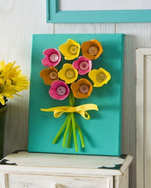 Quadro feito com caixa de ovos pode ter a combinação de cores que você quiser (Foto: modpodgerocksblog.com)