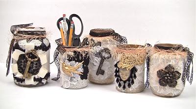 Potes com decoração vintage feitos de reciclagem são baratos, mas muito sofisticados (Foto: markmontanoblogs.blogspot.com.br)