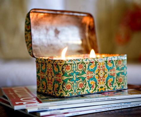 Reaproveitar latas de metal para criar velas diferenciadas é ótima opção de artesanato sustentável (Foto: designsponge.com)