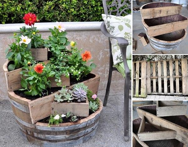 Vaso para jardim de material reutilizado é lindo e sustentável (Foto: goodshomedesign.com)