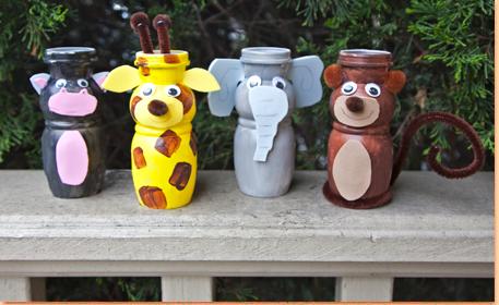 Estes animais de material reciclável são sustentáveis artesanatos que auxiliam o nosso meio ambiente (Foto: craftprojectideas.com)