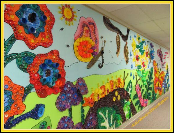 O Que Mais Vende Em Artesanato ~ Mural Escolar Infantil Feito com Reciclagem