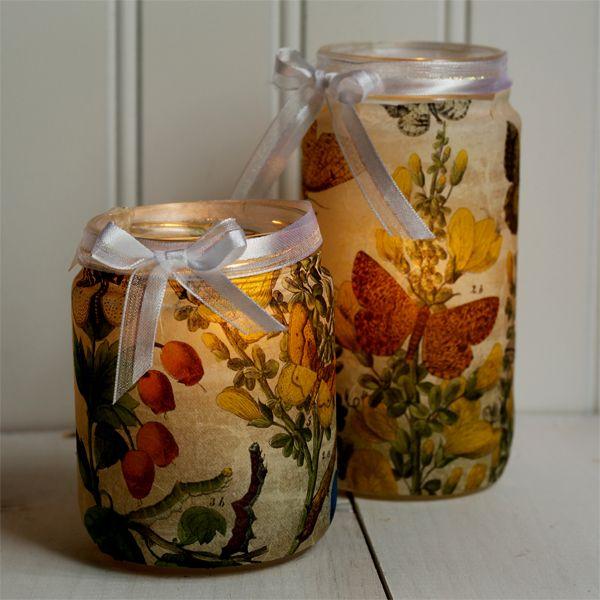 Esta lanterna com pote de vidro reciclável é linda, fácil de ser feita e muito barata (Foto: thegraphicsfairy.com)
