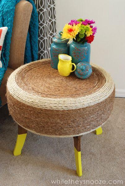 Mesinha de pneu é linda e sustentável (Foto: whiletheysnooze.blogspot.com.au)