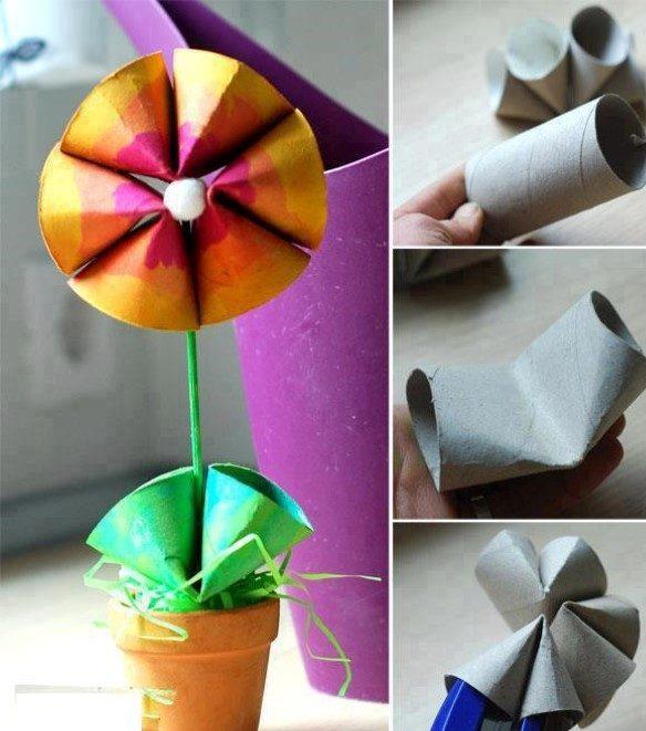 flor feita com rolo de papel higienico
