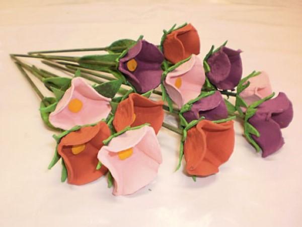 flores com caixa de ovo (Custom)