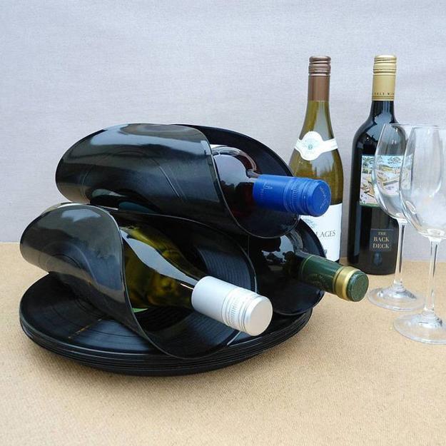 porta vinho de disco de vinil