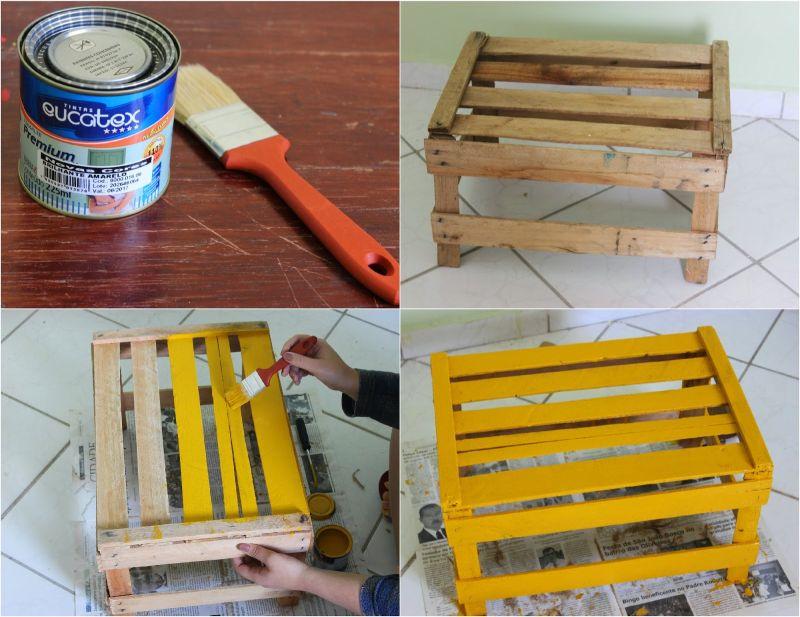 caixote de madeira pintura
