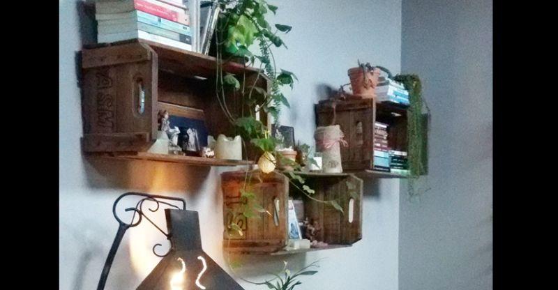 caixote de madeira verniz
