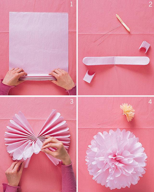 pompons de papel rosa