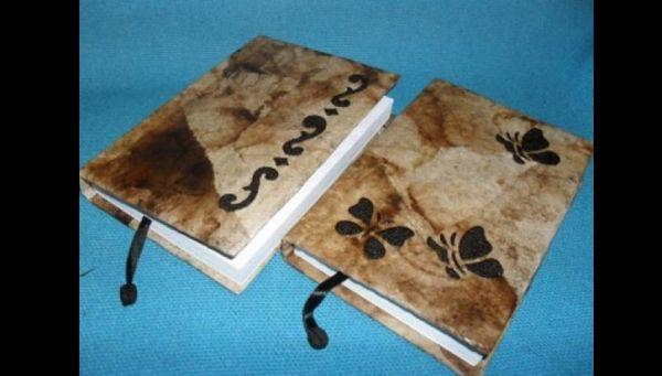 Artesanato com coador de café caderno