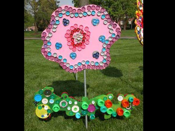 reciclagem com flor