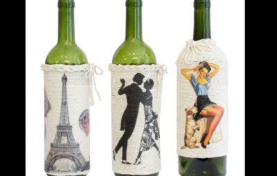 decoração de garrafa com barbante e pintura
