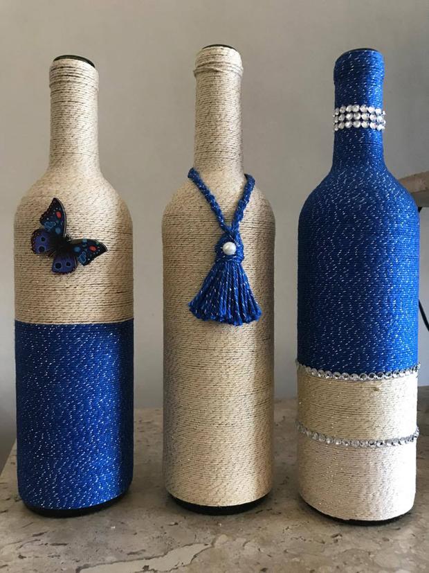 decoração de garrafa com borboleta