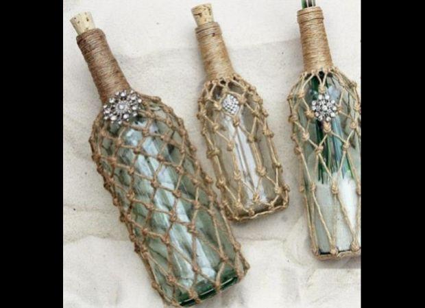 decoração de garrafa com sisal