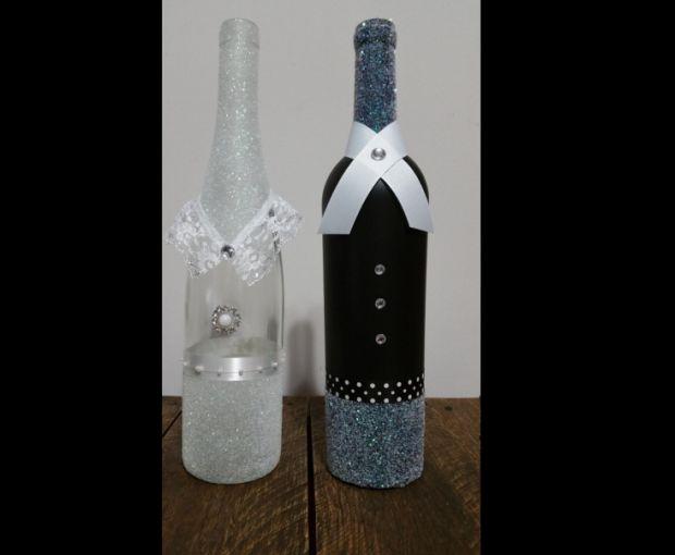 decoração de garrafa com fitas