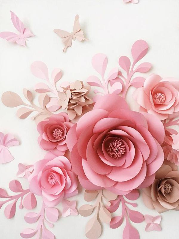 rosa em papel na parede