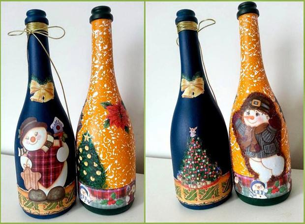 decoração de garrafa com pintura
