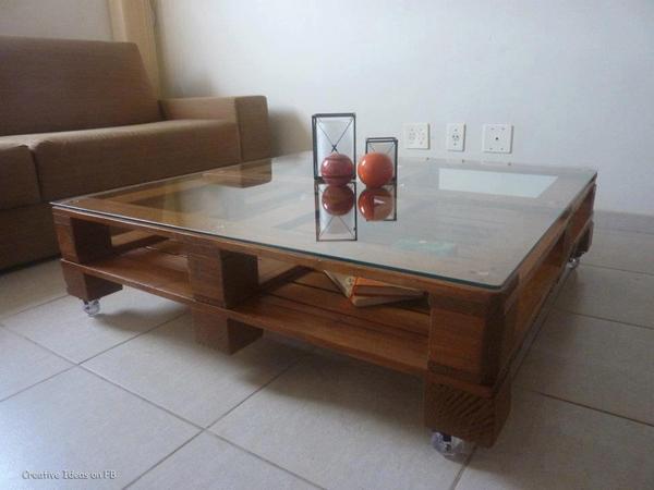movel reciclado mesa de centro com vidro