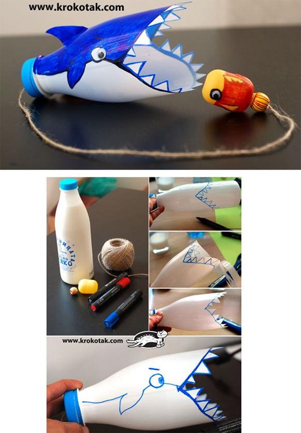 brinquedo com sucata tubarão